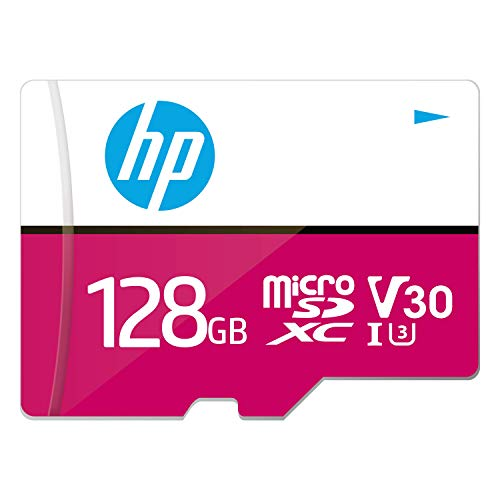 HP Micro SD Card 128GB with Adapter U3 V30 (Pink) (Write Speed 85MB/s & Read Speed 100 MB/s Records 4K UHD and Fill HD Video)