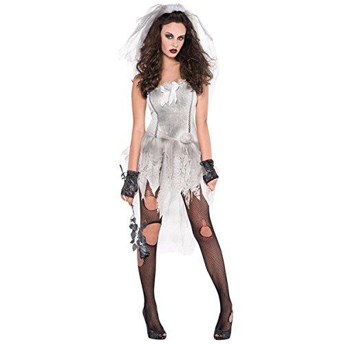 Emmas Garderobe Zombie-Braut-Kostüm für Erwachsene - Be Halloween Corpse Bride - UK Größe 8-14 (Women: 36-38, Bride)