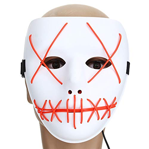 lloween Horror Kostüm Light Up Gesichtsmaske Smiling Stitched Rave Cosplay - 3 ()