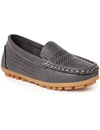 N Five PU Slip-On Closed-Toe Grey Casual Wear Shoes For Boys
