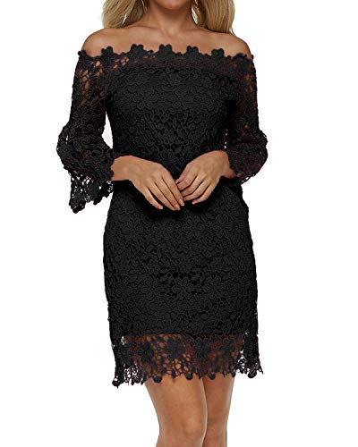 Auxo Damen Schulterfreie Langarm Kleider mit Spitze Elegant Blumen Kurz Abend Etuikleid Schwarz EU 42/Etikettgröße XL