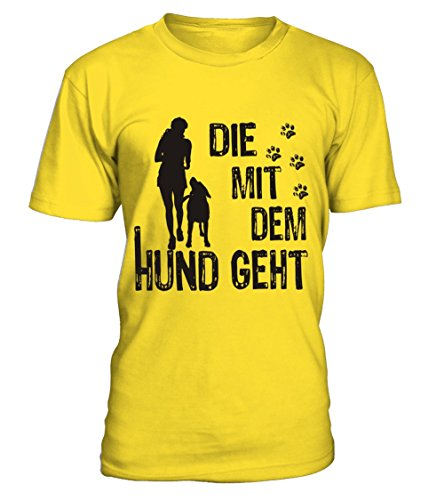 HUNDE Motiv T-Shirt: Die mit dem Hund geht (Frau und Hund 1) - Damen Shirt Größe S bis XXXXL - in versch. Farben Yellow