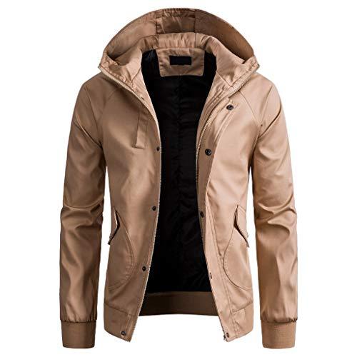 Amphia - Trenchcoat für Herren mit Kapuze - Männer Frühling Winter einfarbig Jacke Reißverschluss Button Kapuze Tasche Mantel Top ()