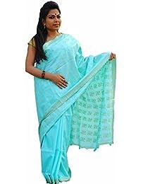 The Wardrobe Women's Bhagalpuri Slik Saree(TW004_Aqua Blue_Freesize) …