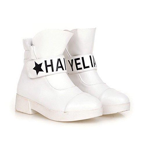 AllhqFashion Damen Weiches Material Haken-Und-Loop Niedriger Absatz Niedrig-Spitze Stiefel Weiß
