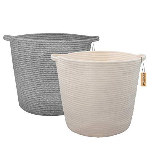 INDRESSME 2 Pack XL Cotton Rope Storage Basket Baby Wäsche-Korb-Basket Woven Baskets Decke Deckenkorb mit Griff für Diaper Toy Off White Home Decor 16.0