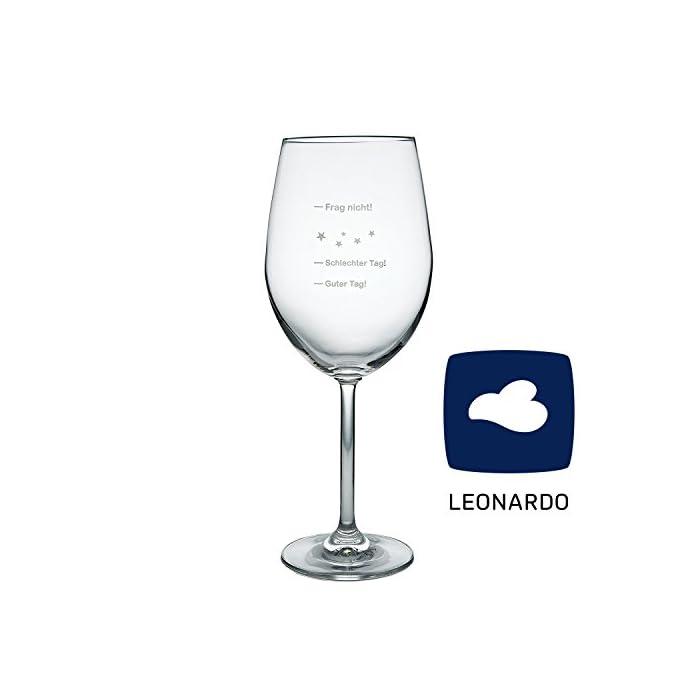 van Hoogen Leonardo XXL Weinglas Guter Tag! - Schlechter Tag! - Frag Nicht!, 640ml mit Gravur | Premium Weinglas mit…