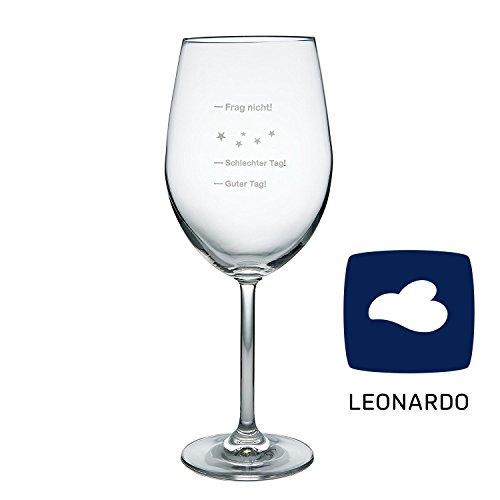 van Hoogen Leonardo XXL Jumbo Weinglas Guter Tag! - Schlechter Tag! - Frag Nicht!, 640ml mit Gravur | Premium Weinglas mit Gravur | Rotweinglas | Weißweinglas | Tolles Geschenk