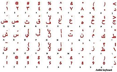 adesivitastiera. it–Pegatinas Letras Teclado Árabe fondo transparente letras rojas