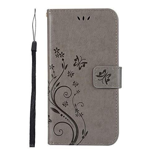 Herbests Klapphülle für Huawei Y5 2018 Handy Schutzhülle Brieftasche Ledertasche Schön Schmetterling Blumen Handytasche Wallet Flip Cover Handyhülle Book Case,Grau