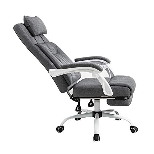 Lhl Bürostuhl Computer Stuhl Home Boss Stuhl Drehstuhl Grau Stoff Einfache Doppel Rückenlehne Komfortable Schreibtischstuhl (Color : Gray, Size : 70 * 70 * 112CM)
