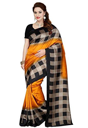 Ishin Mysore Art Silk Orange Check Printed Bollywood Women\'s Saree
