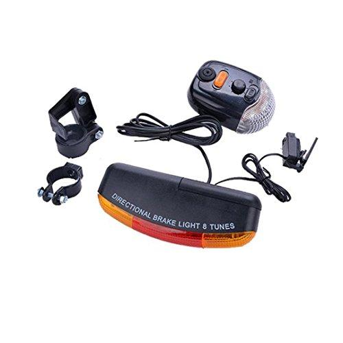 HCFKJ 7 LED Fahrrad Blinker Richtungs Bremslicht Lampe 8 Sound Horn