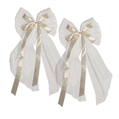 20 Autoschleifen Hochzeit groß, Antennenschleifen Weiß Creme 19 x 45 cm für Autodeko Autoschmuck für das Hochzeitsauto