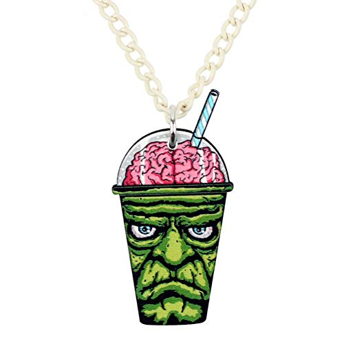 AISHIPING Acryl Halloween Anime Zombie Gehirn Trinken Halskette Anhänger Kette Neuheit Punk Party Schmuck