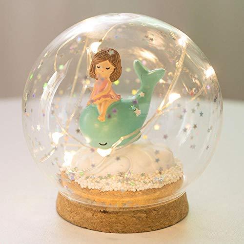 Batterie nachtlicht dekoration kristallkugel licht manuelle diy handgemachtes geschenk liebhaber geburtstagsgeschenk@Trompete sitzendes Walmädchen -