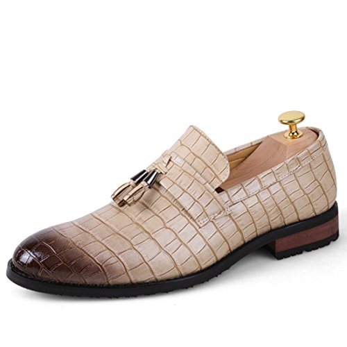 Men's Zapatos Tassel Leather Slip On Formal Shoes Kaki
