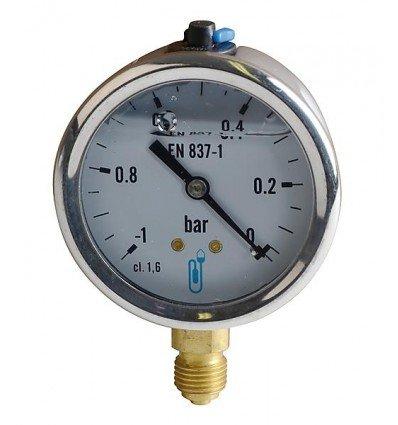 Vacuometro rotondo - Da -1 a 0 bar diametro 63mm M1/4' cassa inox a glicerina senza protezione