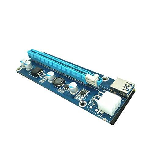 Yowablo 5 Stück PCI-E Express USB3.0 1x auf 16x Extender Riser-Kartenadapter SATA-Stromkabel (Blau) -