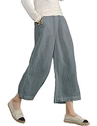 946a4fefa011 Minetom Pantalon Large à jambes et Fluides pour Femmes Confortable  Elastiqué Grande Taille 3 4