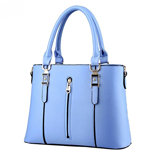 DELEY Moda Elegante Donna Cerniera Tote Borsa A Spalla Borsa A Tracolla Ufficio Valigetta Top Handle Bag Blu
