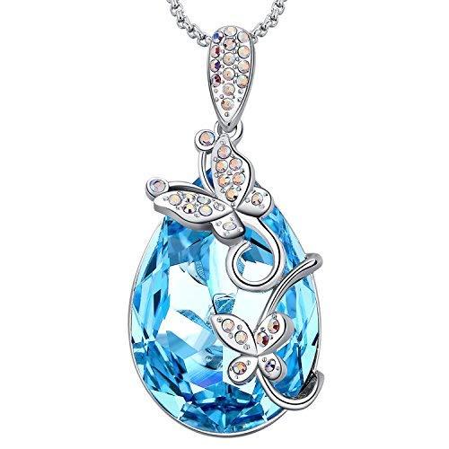 MEGA CREATIVE JEWELRY Damen Kette Blau Tropfenform Schmetterlinge mit Kristallen von Swarovski