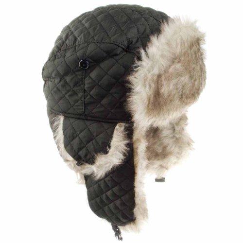 Trapper cappello uomo donna Unisex Trapper cappello traspirante Outdoor militare termico Russo in pelliccia cappello trapper Black Taglia unica
