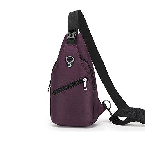 Sling borse zaino petto spalla bags-v.Punto viaggi petto borsa a tracolla scuola borsa per ciclismo, trekking, campeggio palestra, Blue Purple