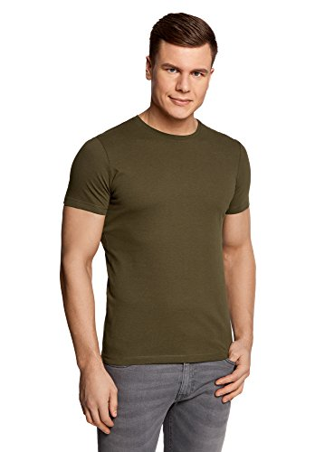 oodji Ultra Herren Gerades Tagless T-Shirt Basic Grün (6600N)
