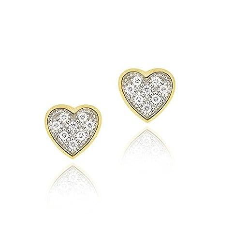 18K Gold über Sterlingsilber Zirkonia Micro Pave Klein Herz zweifarbig Ohrstecker
