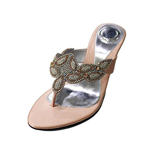 W & W femmes Mesdames Soirée Fashion Sandale Confortable à Enfiler Chaussures Diamante mariage talon bloc Taille 4–10(durables) Pêche