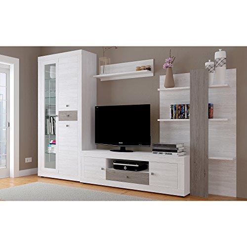 HomeSouth - Mueble de Comedor con Leds, Salon Vitrina Modelo Julieta, Acabado Color Andersen Pino y Gris