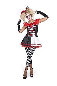 Karnival Costumes- Carnival Jester Girl Disfraz, Multicolor, large (81243)