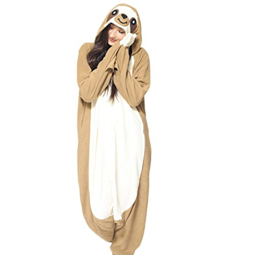 DELEY Unisex Adulto Onesie Anime Cosplay Costume Cartoon Animali Kigurumi Pigiama di Felpa Pigiameria Bradipo L