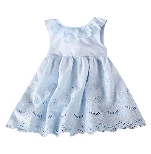 (YWLINK MäDchen Vokuhila Mode Volltonfarbe RüSchen Hohl Kleiden Elegant RüCkenfrei Bogen Urlaub Party Prinzessinenkleid (Blau,90))