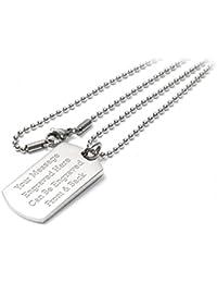 Personalised Luxury Dog Tag Pendant Identity Necklace - Engraved - Enter Your Custom Text