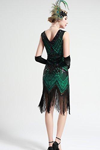 BABEYOND Damen Flapper Kleider voller Pailletten Retro 1920er Jahre Stil V-Ausschnitt Great Gatsby Motto Party Damen Kostüm Kleid Grün