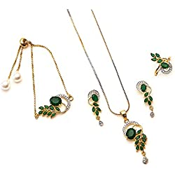 Zeneme American Diamond Traditional Fashion Jewellery Combo of Necklace Pendant Set/Ring/Bracelet with Earring for Women/Girls (Green)