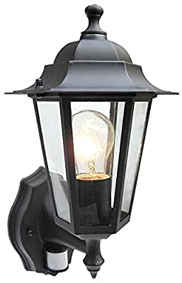 Choose Black or White Outdoor PIR Security Sensor Traditional Lantern Shape Flood Light. Self contained & waterproof unit. Movement Detecing Floodlamp FloodLight Detector Wall Lamp, NowIncluded Free: 42w Energy Saving Halogen Light bulb.