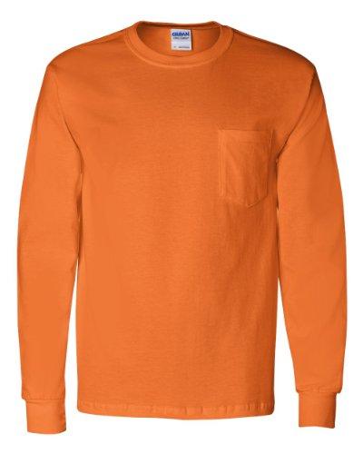 Gildan Ultra Cotton Long Sleeve T-Shirt with a Pocket, Safety Orange -
