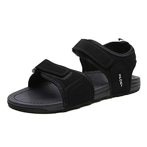 Hilotu sandali da spiaggia estivi per uomo scarpe da acqua all'aperto gancio filato cucirino leggero traspirante impermeabile antiscivolo pantofole casual aperte (color : nero, dimensione : 40 eu)