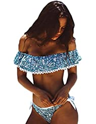 LANDFOX Mujer Bandage traje de baño Bikini Set Push-Up traje de baño acolchado Bra