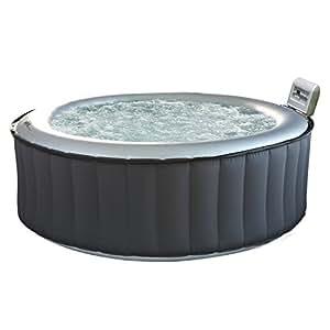 Spa rond gonflable SILVER CLOUD - 4 places - anthracite/intérieur gris