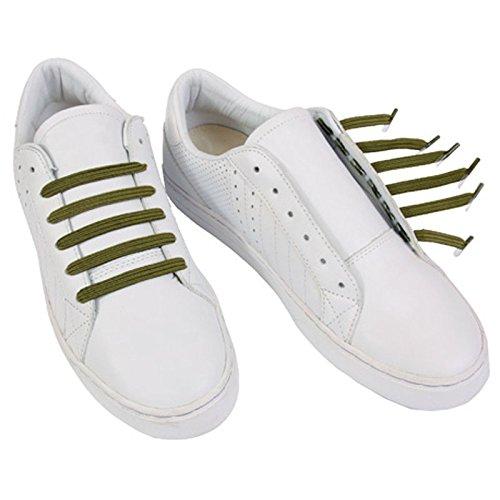 U-LACE CLASSIC Lacets plats élastiques pour chaussures et baskets Vans Converse Adidas Nike Homme Femme Enfant (Army Green)