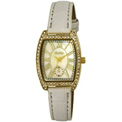 Henley Gold Case Watch with Diamante Encrusted Crystals Women's Quartz Watch with Mother of Pearl Dial Analogue Display and White PU Strap H06088.4