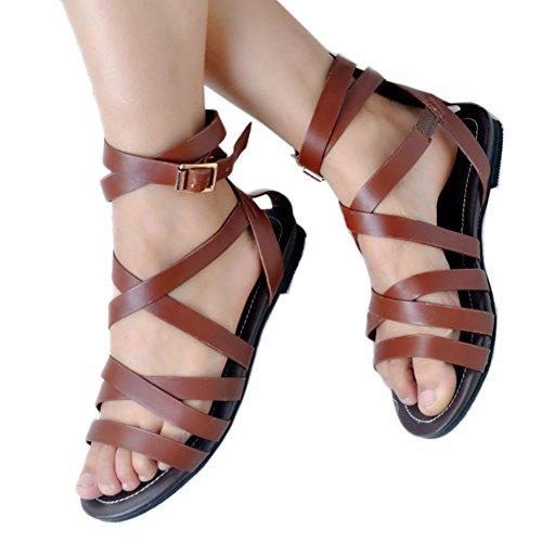 EKS Damen Summer Flats Gladiator Riemchensandalen Open Toe Flache Sandalen Schuhe EU 35-47 Braun