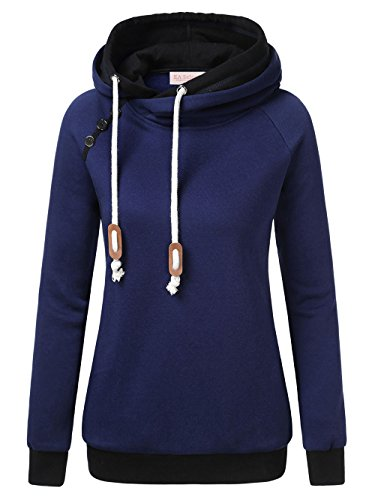 EA Selection Damen Kapuzenjacke Hoodie Pullover Schrägkragen Navy