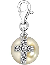 Quiges 925 Sterling Silver White Cubic Zirconia 3D Bell Clip On Lobster Clasp Charm Pendant 38SiAm