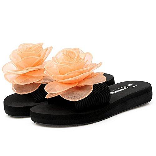 TAOFFEN Damen Schlupfschuhe Flach Sandalen mit Blume Sommer Strand Pantoffeln Orange