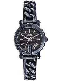 Reloj mujer JEAN PAUL GAULTIER–Point G Mini–acero PVD azul + piedras–pulsera acero PVD piel negro–28mm–8503601